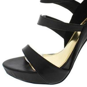 The Shoe Loft Shoes - Seraphina Black Strappy Open Toe Heel
